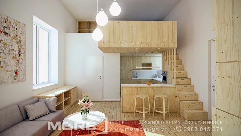 Thiết kế căn hộ mini 25m2 thông minh theo phong cách Mộc