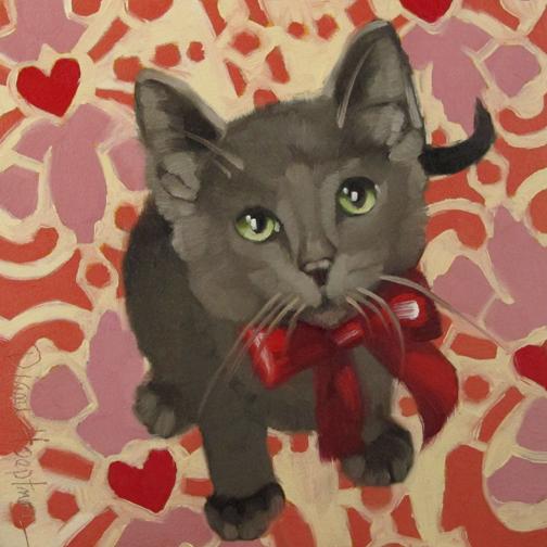 Diane Hoeptner Sweetheart Valentine S Day Kitten Painting