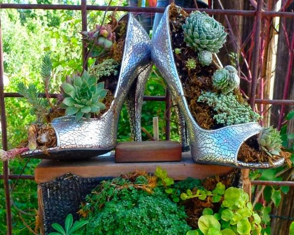 déco jardin avec des chaussures