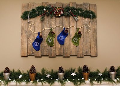 Christmas mantel - glitter pinecones & wooden wall hanging - Turtles and Tails blog