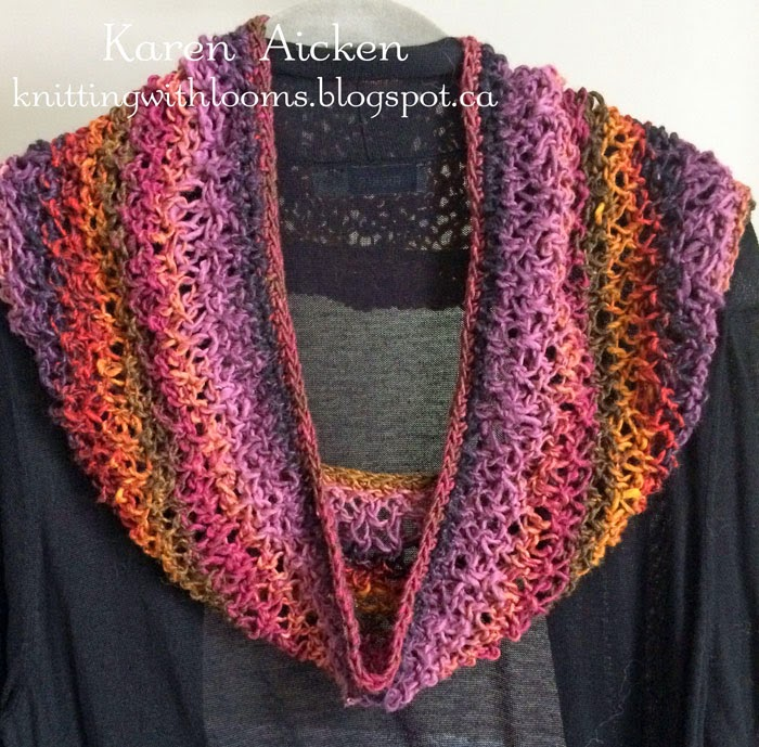 Cowl Loom Knitting Pattern : Knitting With Looms: Finished Lacy Cowl