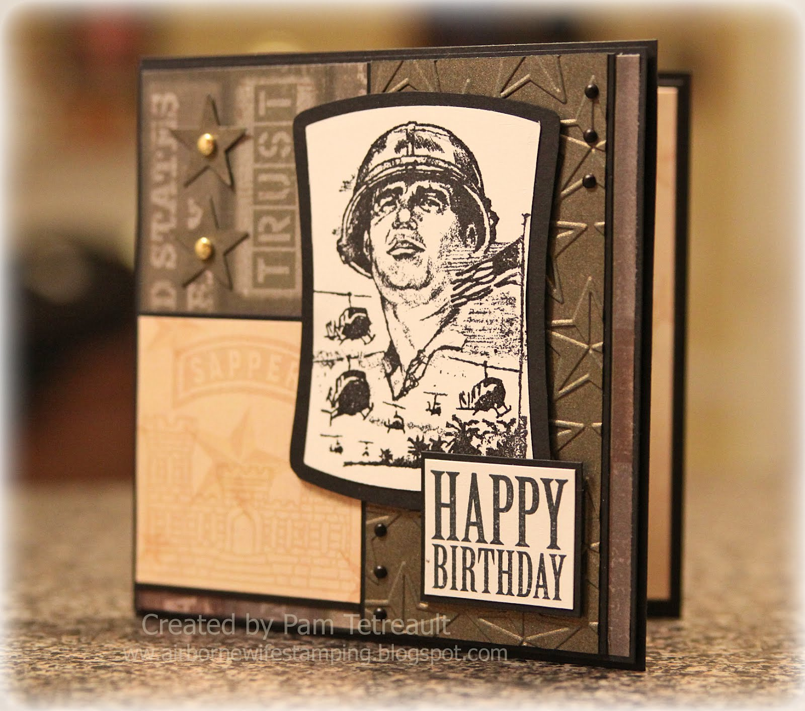 Airbornewifes stamping spot happy birthday army themed last night i sat down to make a birthday card and i wasnt sure where to go with it i had an scs sketch and that was it one thing that this bookmarktalkfo Choice Image