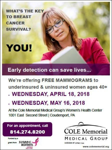 4-18 Free Mamograms, Coudersport