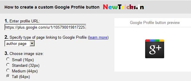 Add google profile button into blog how to add google profile