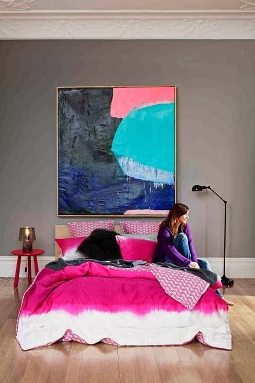 pink bed spread duvet cover magenta ink colourful bright bedroom inspiration modern