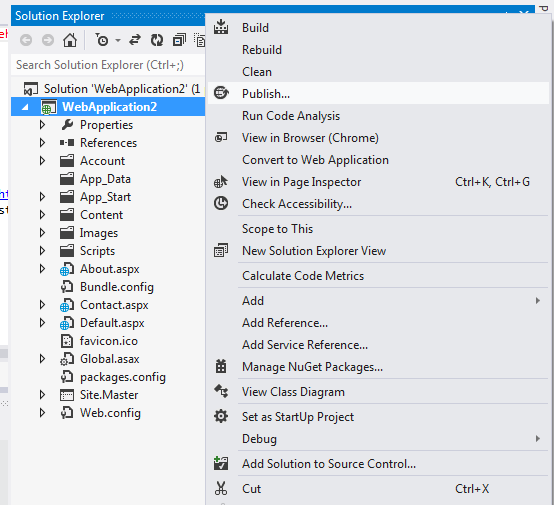 Publish web application in visual studio 2012