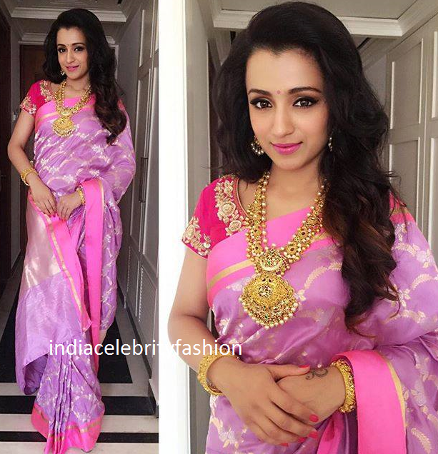 Trisha in Lavender color Sailesh Singania label Silk Saree