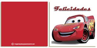 Felicitaciones de cars de disney para imprimir