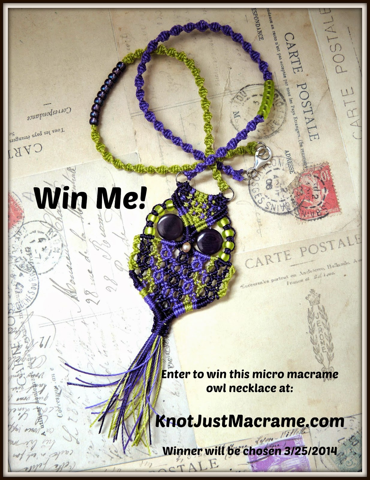 Micro macrame owl necklace Giveaway