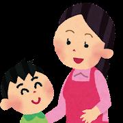 お母さんとお話をする男の子のイラスト