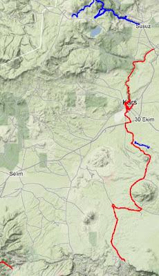 kars yürüyüş parkuru haritası