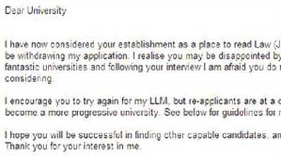 how to take rejection from university