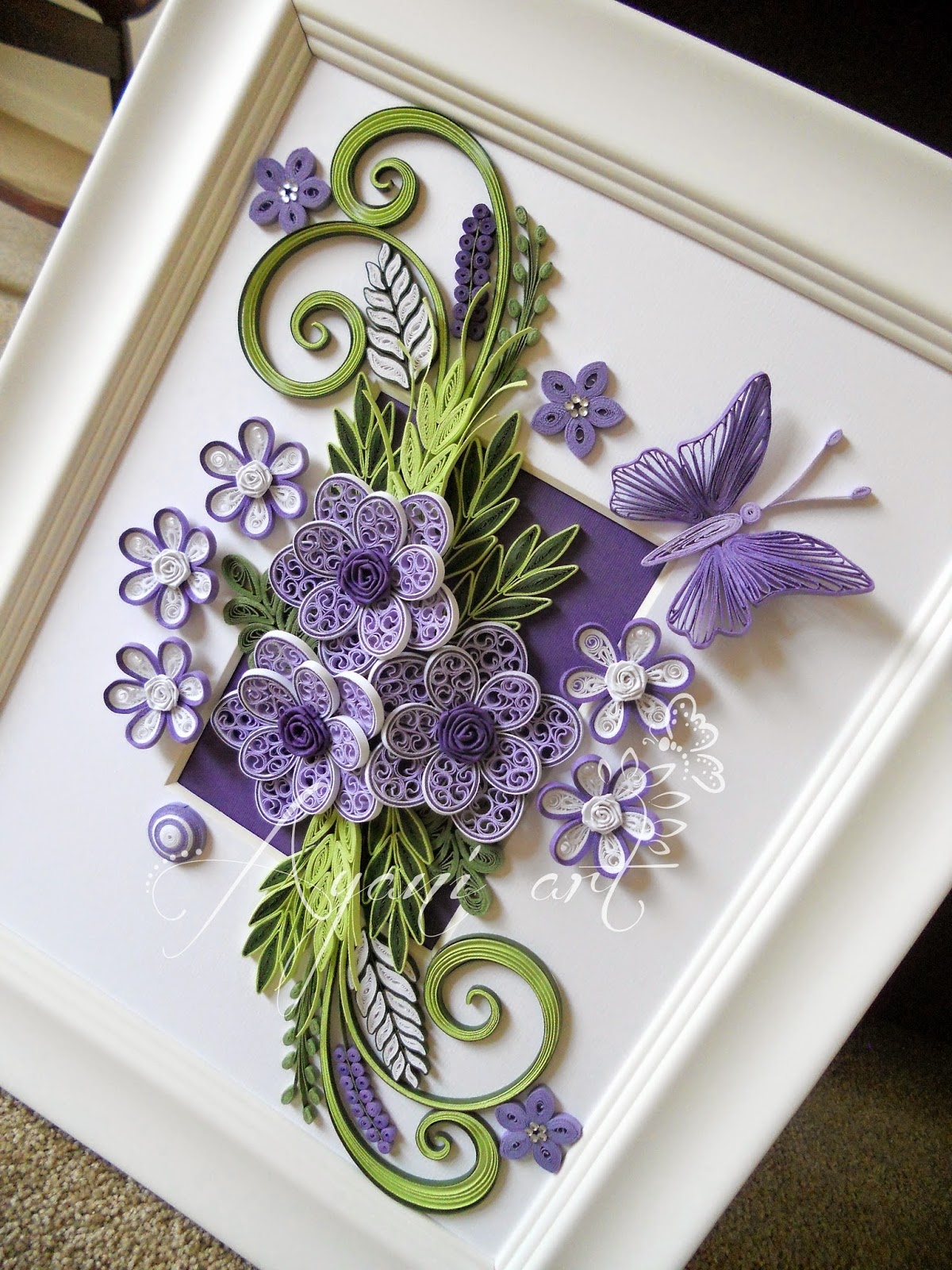 Ayani art purple and green quilling for Quilling paper art