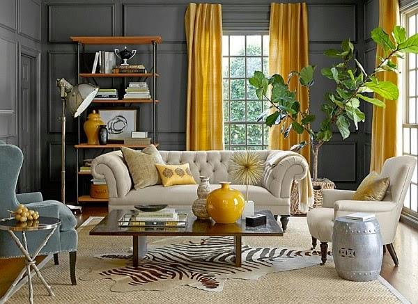 salas decoradas en gris y amarillo colores en casa
