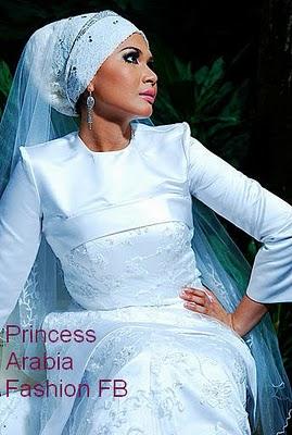 Hijab Style With White Wedding Dress