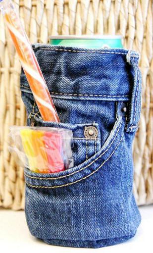membuat kerajinan tempat minuman kaleng dari kain jeans lama