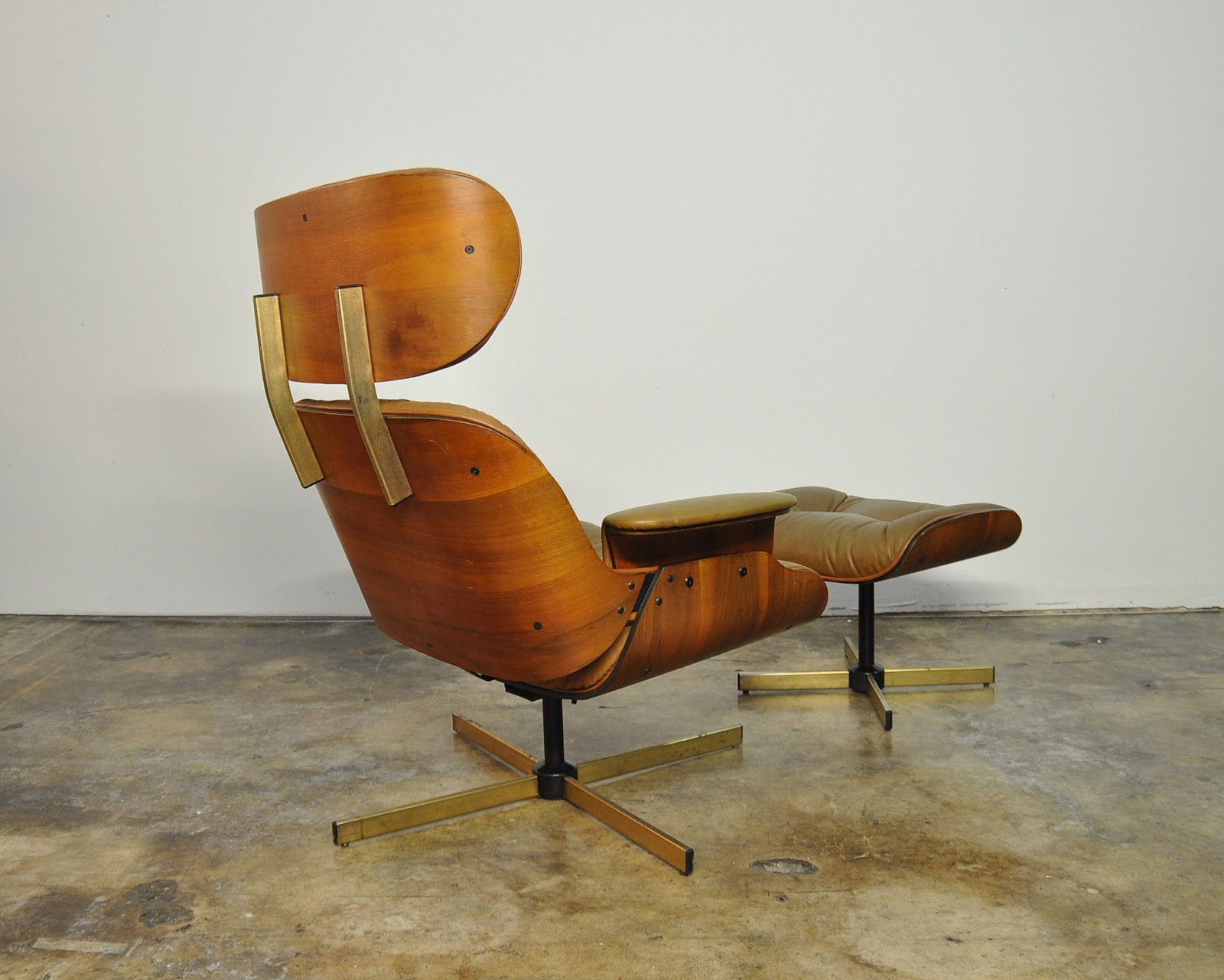 Select modern frank doerner eames style leather lounge chair ottoman - Selig eames chair ...