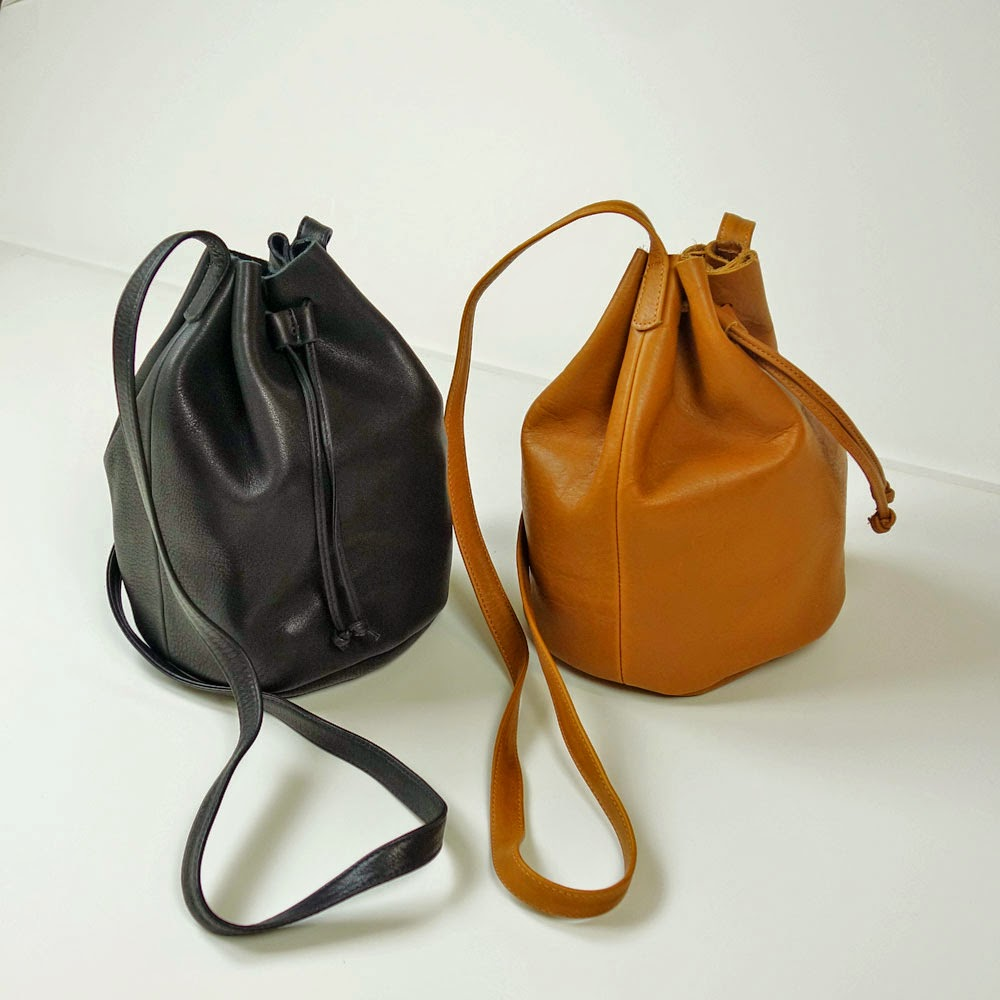 Baggu Leather Drawstring Bag in Camel and Black