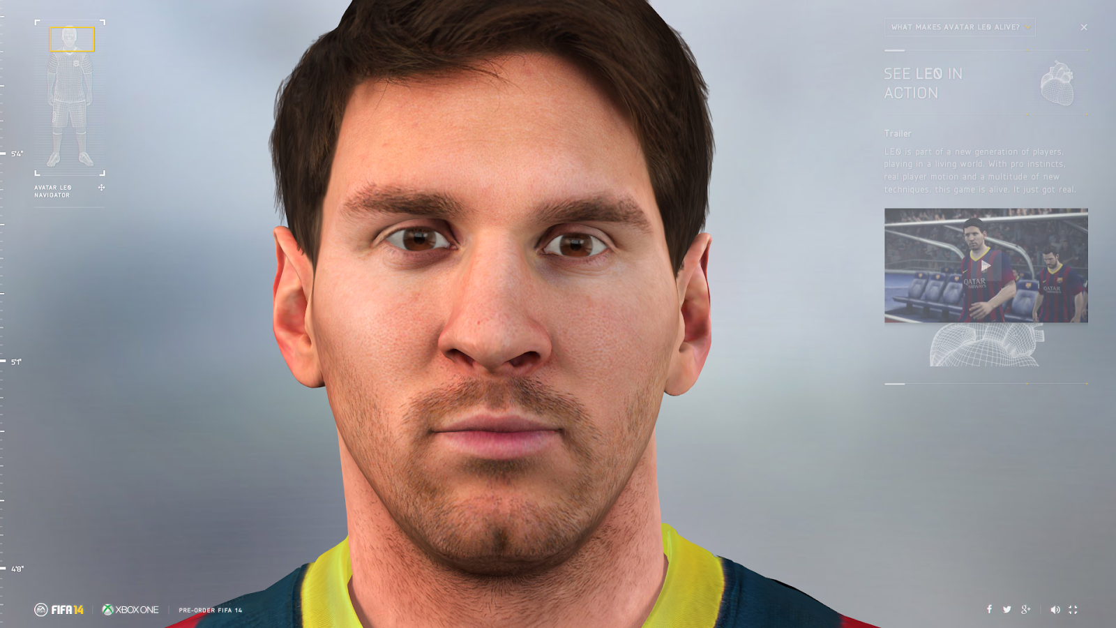 Life Size Messi LEO avatar 2014 14 Barcelona Digital 3D interaction EA