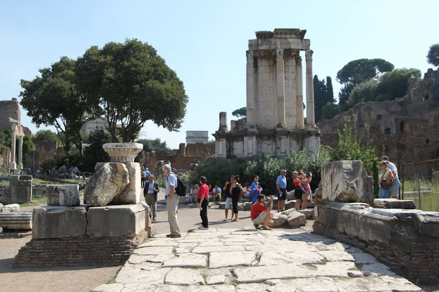 Temple of Vesta on the background, at Roman Forum in Rome, Italy