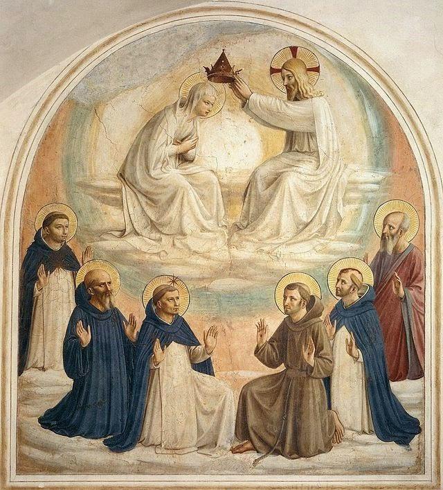 Regina Caeli Koningin des hemels. Fresco Fra Angelico Regina Coeli Kroning van Maria