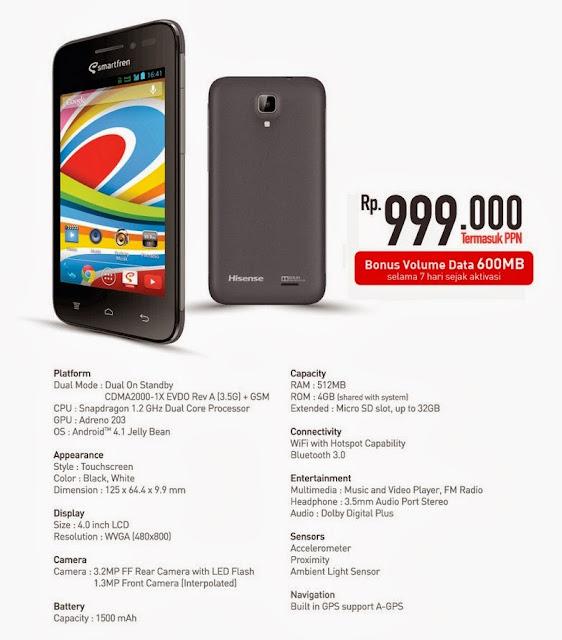 Harga HP Smartfren Andromax Es, Ponsel 4G LTE Murah 999 Ribuan