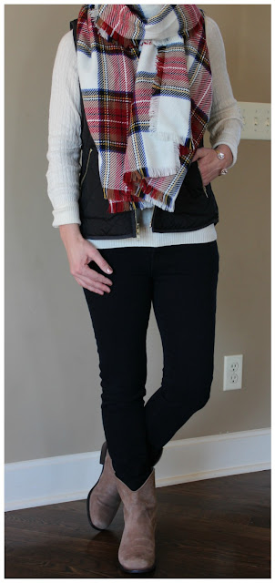 J. Crew Sweater (this year's version) // Old Navy Vest (this year's version - under $20!) // Merona Scarf // 7 For All Mankind Jeans - 50% off! // Jessica Simpson Booties (similar) // Purple Peridot Cuff Bracelet - only $6, regular $25!