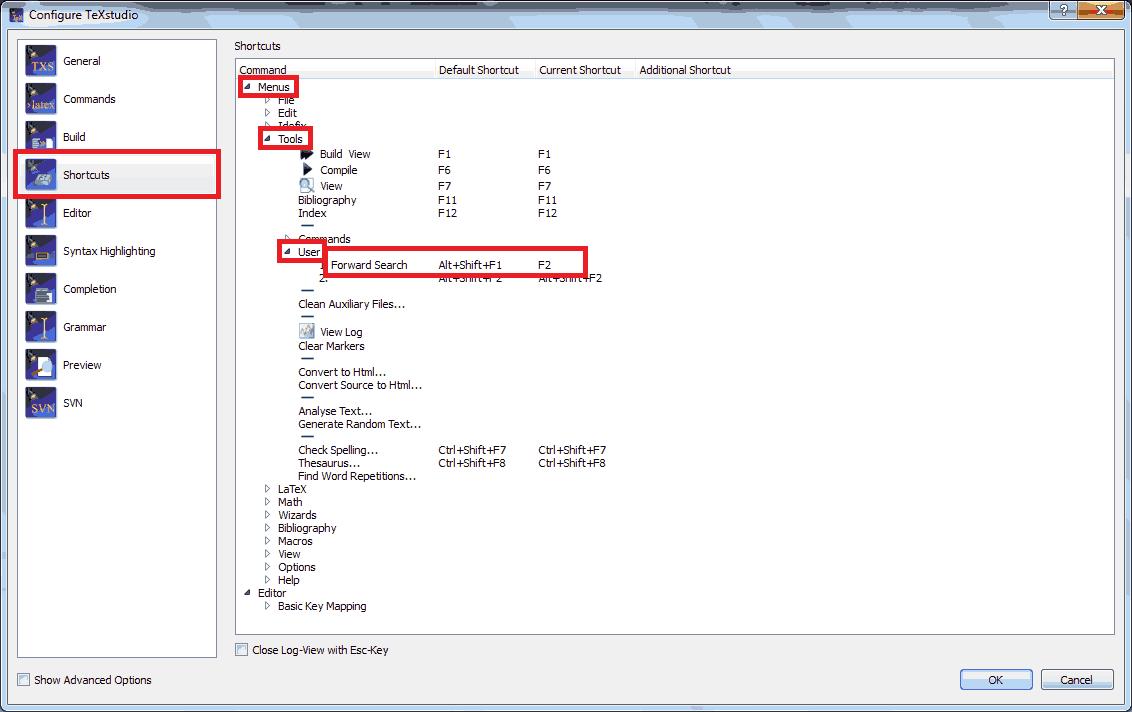 User Commands Shortcut