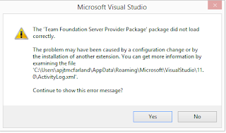 The 'Team Foundation Server Provider Package' package did not load correctly