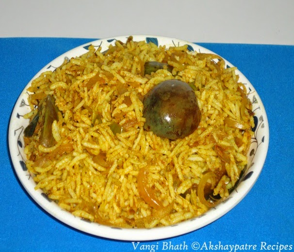 vaangi bhaath in a serving plate