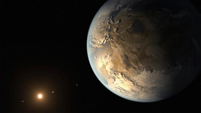Hình vẽ của họa sĩ về Kepler-186f  - hành tinh có kích cỡ tương đương Trái Đất đầu tiên trong vùng có khả năng có sự sống cùng các hành tinh khác trong hệ và ngôi sao chủ của nó. Credit: NASA Ames/SETI Institute/JPL-Caltech.