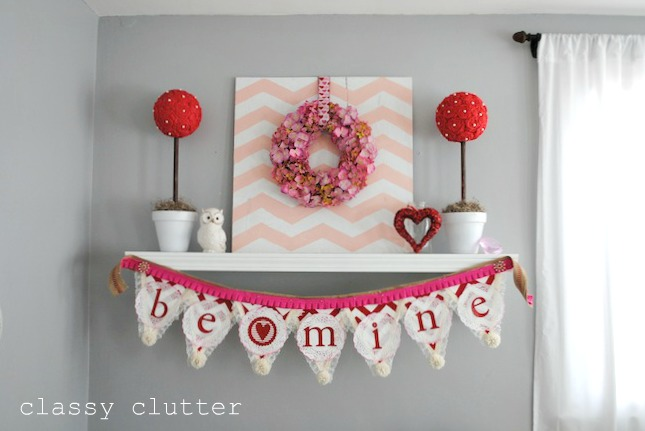 My Valentine\'s Mantel and Valentine\'s Decor Ideas - Classy Clutter