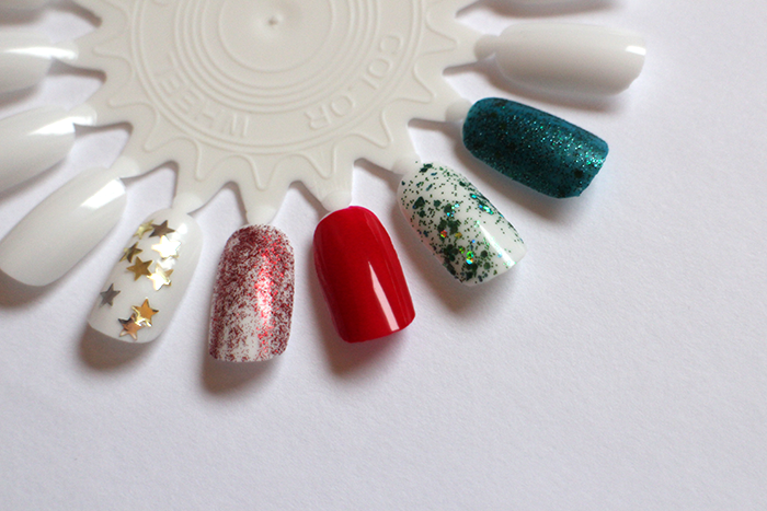 SWATCHES NAILSINC Alexa Stars, Barry M Red Glitter, NAILSINC Victoria and Albert, Orly Mermaid Tale, Models Own Absinthe