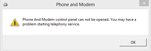phone and modem control panel can not be opened