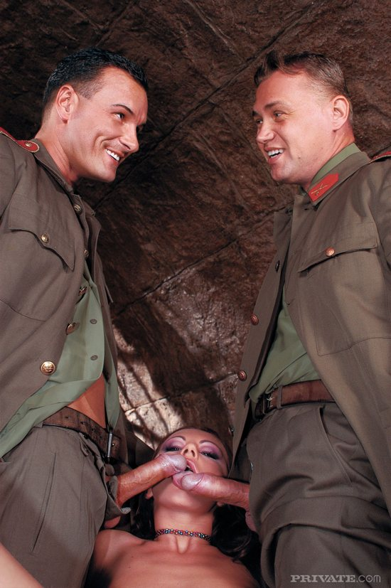Cum loving whore gets fucked in a cave by 2 soldiers