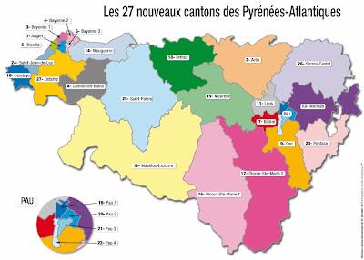 La future carte des cantons 2014 pays basque et béarn