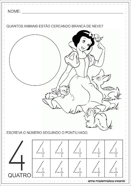 Número 4 Princesas Disney Pontilhado Atividades