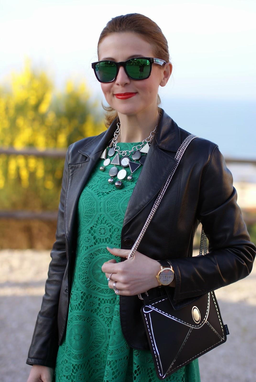 Vitti Ferria Contin collana, Millelire watch, Sheinside green dress, Fashion and Cookies, fashion blogger