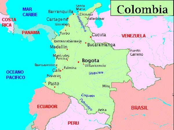 Patria y Unidad Un poco de geografa Mapa de Colombia