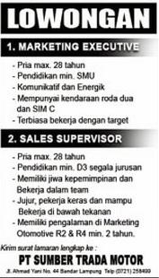 Loker Kerja Lampung, PT. Sumber Trada Motor