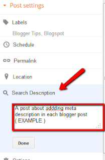 Enable meta description in static posts for blogger