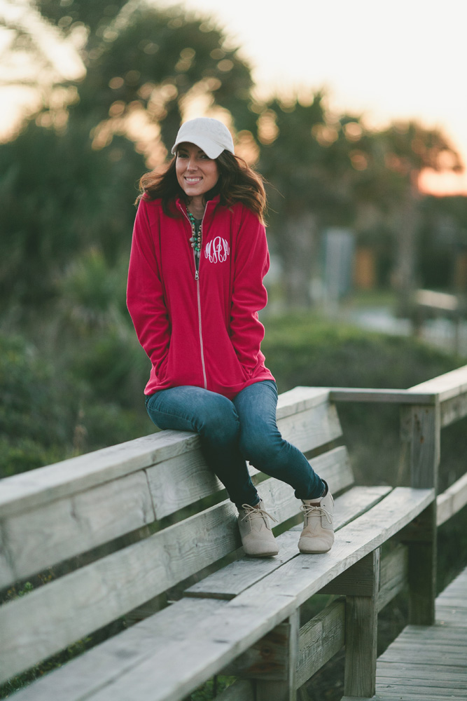 Marley Lilly zip up at the beach