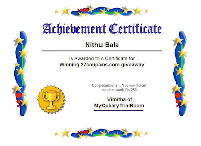won rs. 250 flipkart gift voucher giveaway @ my culinary trial room