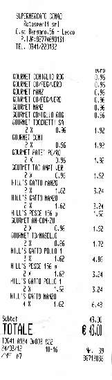 Receipt for Cats food