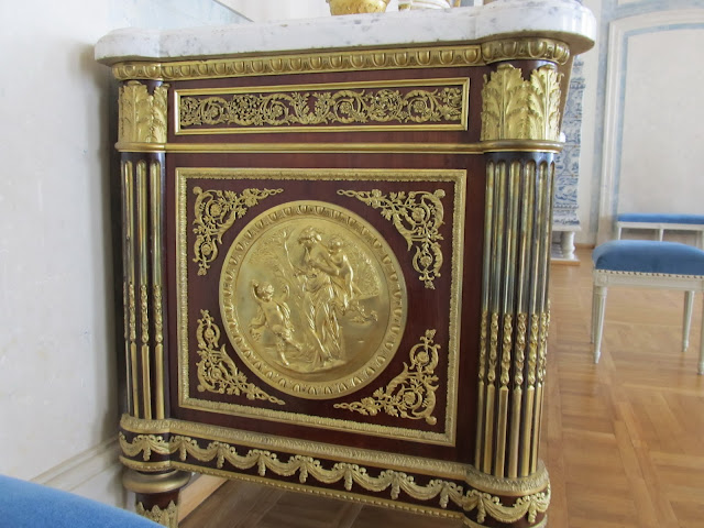 Commode, mahogany, bronze. France. 2nd half of the 19th c.  (A copy from G. Benemann's commode made for Maria Antoinette's game room in Fontainebleau Palace in 1786.) (Rundale Palace, Latvia)