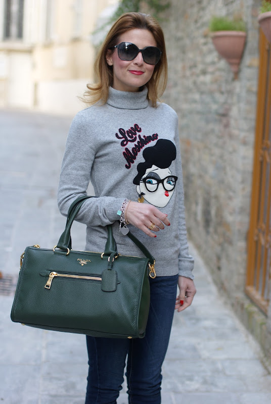 Moschino sweater, Prada bag, Fashion and Cookies