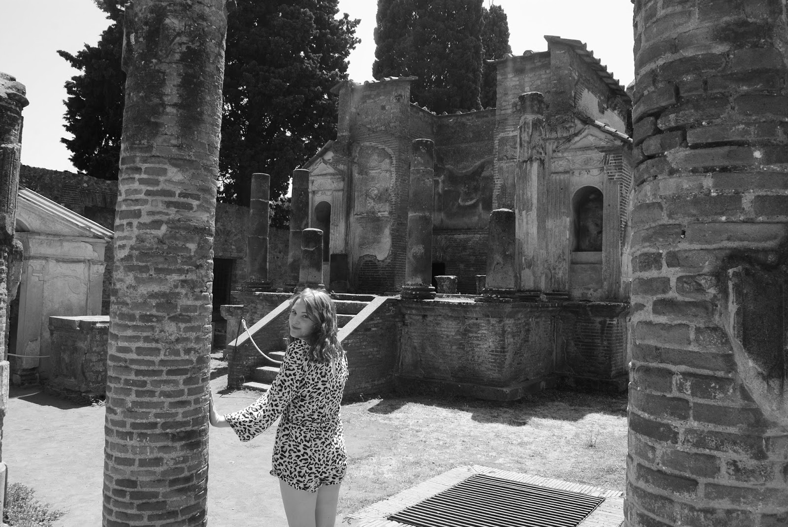 Temple of Isis in Pompeii Italy wearing Auguste playsuit