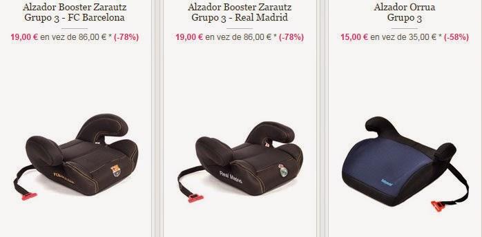 Alzador de coche para bebés del Real Madrid y el Barça