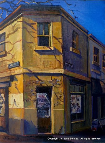 oil painting of abandoned heritage building in Pyrmont 'Old bakery corner of John and Harris St' 2012 oil on board 35x28cm by Jane Bennett, Artist