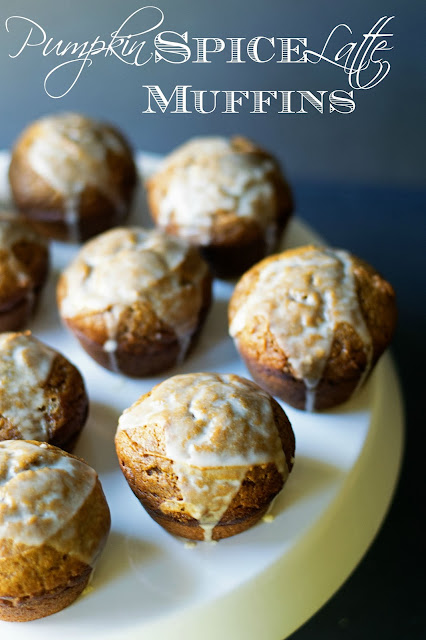 The pumpkin spiced latte muffins on a white cake stand with the title at the top.